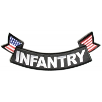 Infantry Large Lower Rocker Patch With Flags | US Army Military Veteran Patches