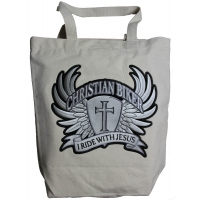 Christian Biker Large Canvas Bag With Patch