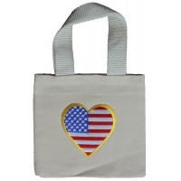 Small Canvas Bag With US Flag Heart Patch