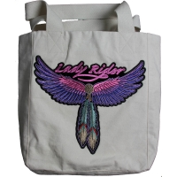 Lady Biker Large Canvas Bag With Patch