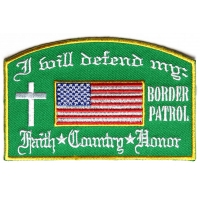 Will Defend Border Patrol Patch In Green | Embroidered Patches
