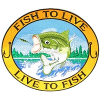 Fish To Live To Fish Large Bass Patch | Embroidered Patches