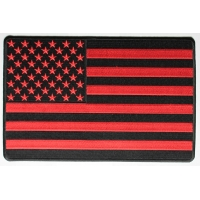 Large Red And Black American Flag Patch | Embroidered Patches