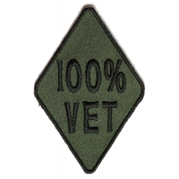 100 Percent Vet Subdued Green Patch | US Military Veteran Patches