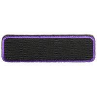 Blank Name Tag Patch Purple Border   Embroidered Patches