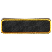 Blank Name Tag Patch Yellow Border   Embroidered Patches