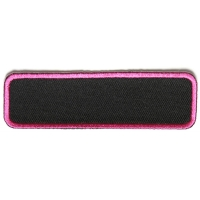 Blank Name Tag Patch Pink Border   Embroidered Patches