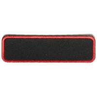 Blank Name Tag Patch Red Border   Embroidered Patches