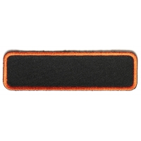 Blank Name Tag Patch Orange Border   Embroidered Patches