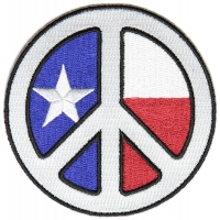 White Texas Peace Patch | Embroidered Patches