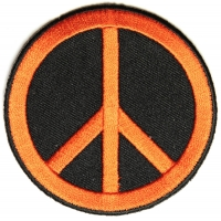 Peace Sign Patch Orange On Black