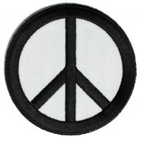 Peace Sign Patch Black On White