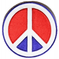 Peace Sign Patch In Red White Blue | Embroidered Patches