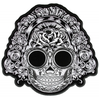 Black And White Sugar Girl Skull Vibes Back Patch | Embroidered Patches