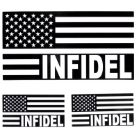 Infidel American Flag Black and White US Flag Sticker