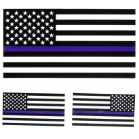 Thin Blue Line Black and White American Flag Sticker For Police