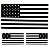 Black White US Flag Stickers