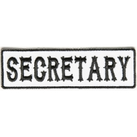 Secretary Patch Black On White