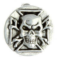 Maltese Cross And Skull Bones Pin