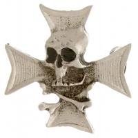 Maltese Cross With Skull And Cross Bones Pin