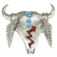 Tribal Steer Skull Pin