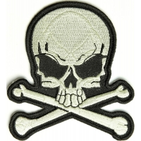 Skull And Bones Patch Medium Grey | Embroidered Patches