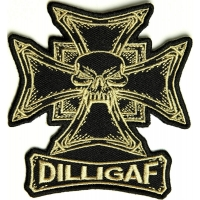 Dilligaf Skull Biker Patch | Embroidered Biker Patches