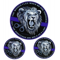Thin Blue Line Police Righteous Lion Sticker
