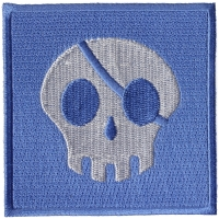 Blue And White One Eyed Skull Kids Patch