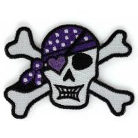Cute Heart Purple Bandana Skull and Cross Bones Patch