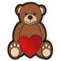 Love Heart Teddy Bear Iron on Patch