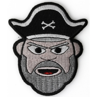 Old Man Bearded Pirate Iron on Patch