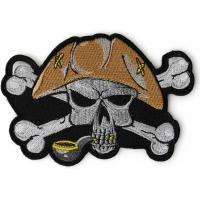 Pipe Smoking Skull with Hat Iron on Patch