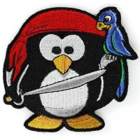 Pirate Penguin With Parrot Iron On Cute Patch