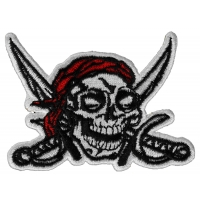 Pirate Skull And Swords With Red Bandana Iron On Patch