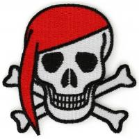 Red Bandana Skull And Cross Bones Patch
