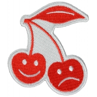 Smiling and Frowning Cherries Iron on Patch