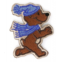 Winter Teddy Bear Blue Scarf Iron on Patch