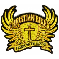 Christian Biker Patch Small In Brown I Ride With Jesus