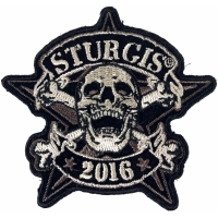 Sturgis 2016 Motorcycle Rally Patch - Skull and Cross Bones