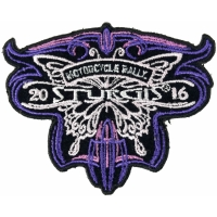 Sturgis 2016 Motorcycle Rally Patch Purple Butterfly
