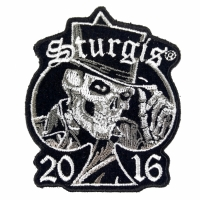 Sturgis 2016 Motorcycle Rally Patch Tall Hat Skull
