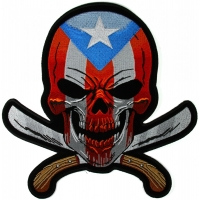 Puerto Rican Skull Large Back Patch With Machetes And Puerto Rico Flag