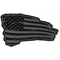 Tattered US Flag Patch Black And Gray