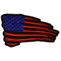 Tattered US Flag Patch Black Red Blue