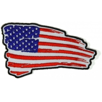 Tattered US Flag Patch Red White Blue