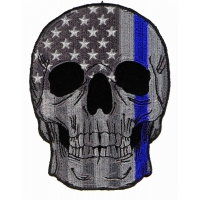 Police Skull Blue line US Flag Patch