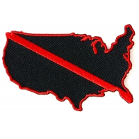 Red Line US Map Firefighters Patch