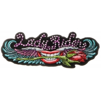 Lips and Roses Lady Rider Patch with Crystals