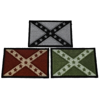 3 Subdued Rebel Flag Patches Brown Gray Green